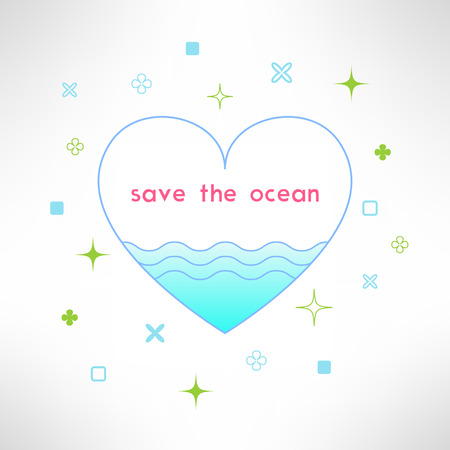 ocean background: Vector save the ocean background in modern flat design. Sea ecology design element.