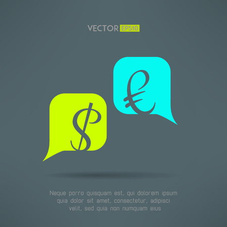 economy crisis: Vector euro and dollar dialog with speech bubbles. Market balance and european economy crisis concept. Letters are not cut and easy to move.