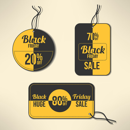promotional: Vector black friday discount labels set. Promotional badge template. Sale and market banners collection. Illustration