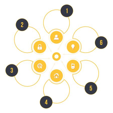 instru��o: Processos de neg�cios Vector passos modelo infogr�fico. Escolha Op��es, elementos de instru��o ou apresenta��o c�rculo. Ilustra��o