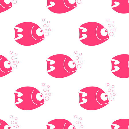 Vector fish seamless pattern. Fish background in clean and simple design. Vector