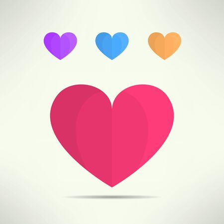 liking: Vector heart icon in modern geometrical design. Social network like symbol. Illustration