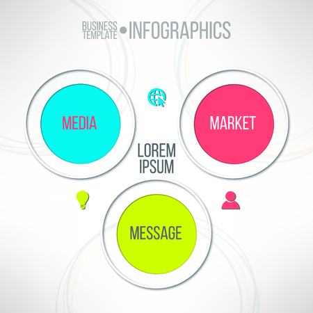schema: Vector media market message colorful infographic diagram. Corporate strategy schema.