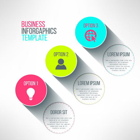 page long: Vector infographic circle boards modern flat design. Text labels and icons with long shadows suitable for presentation, business process or web page design. Illustration