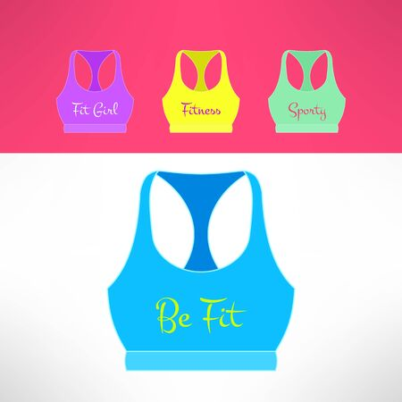 sporty: Vector tank top with printing in modern flat design. Sporty and fitness girl and women clothing. Teenager fashion concept.