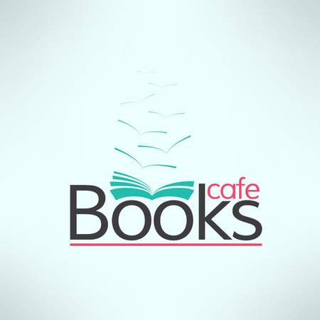 Vector books cafe logo in modern flat design. Book shop banner. Cool reading background.
