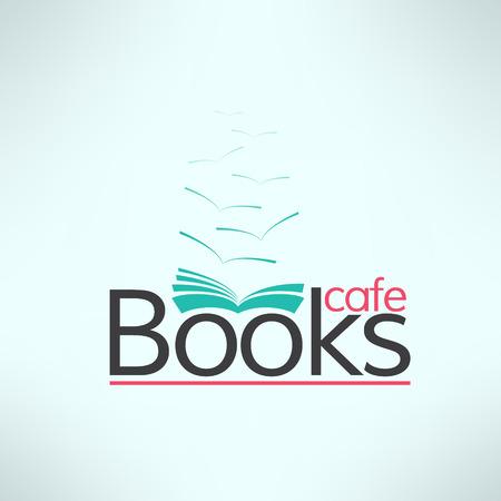 periodicos: Vector libros cafe logotipo en diseño plano moderno. Bandera tienda de libro. Fondo fresco lectura. Vectores