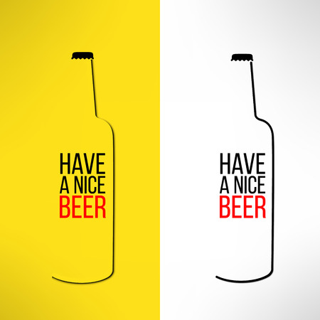 Vector beer bottle design background with a cool slogan on it. Bar poster design element. Vector