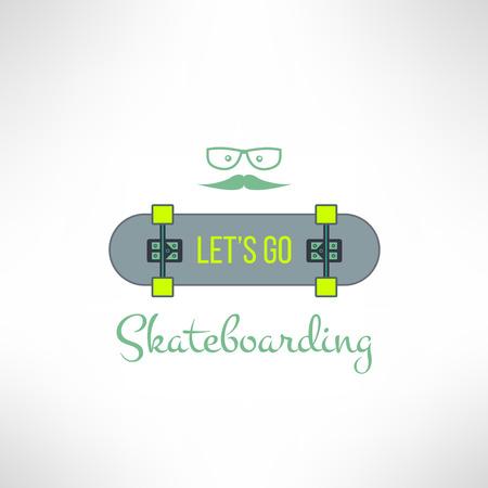 skate board: Vector skateboard background with hipster glasses and moustache in modern flat design. Skate board emblem with cool slogan.
