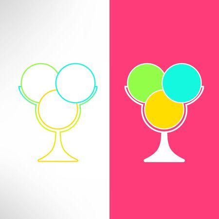 ice cream cup: Vector ice cream cup in modern flat design. Bright ice cream dessert symbol. Illustration
