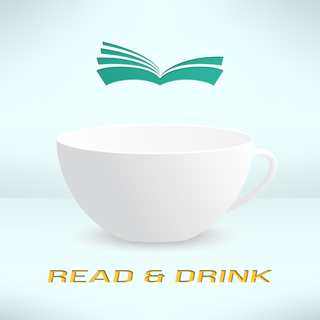 news reader: Vector cup with book in realistic design. Boooks cafe  . Cool reading background.
