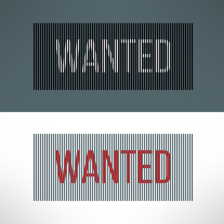 Vector wanted sign on a striped background. Vector