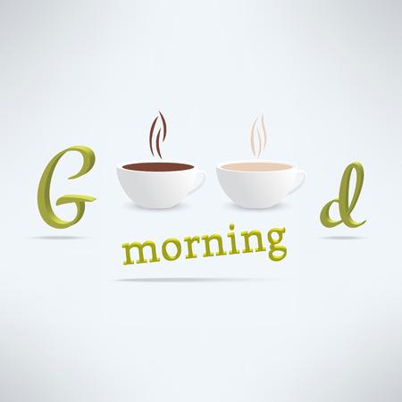 컵과 문자 벡터 좋은 아침 커피 배경입니다. 카페 배너 디자인입니다.