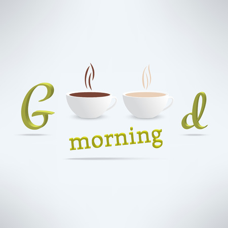 morning: Vector good morning coffee background with cups and lettering. Cafe banner design.