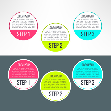 instruction: Vector business process steps circles infographics template. Colorful options choice, instruction or presentation circle elements. Illustration