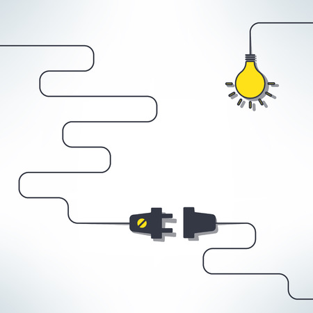 plug in: Vector wire plug and socket with light bulb background in simple flat design. Inspirational creativity concept. Illustration