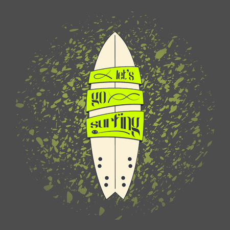 cartoon surfing: Vector surfboard in dark cartoon graffiti design on grunge background. Surfing board with text banners on it and inspirational lettering.