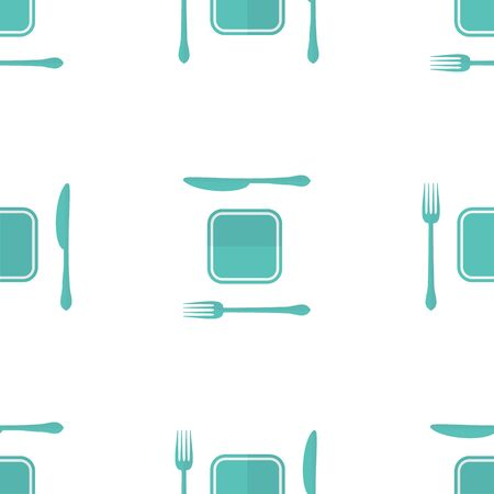 moder: Vector plate, fork and knife seamless pattern made in moder flat design. Lunch time concept background.
