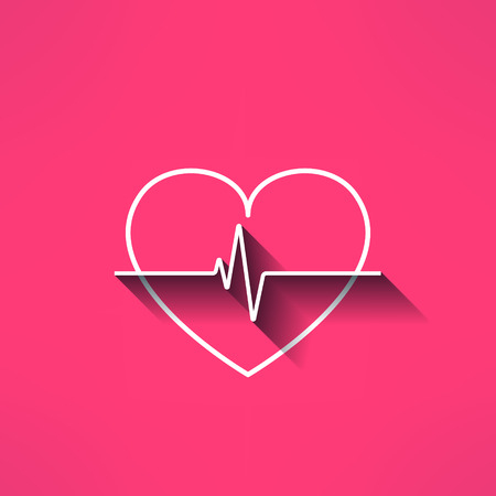 medical icon: Vector heartbeat medical sign made in modern flat design. Cardilology design element with long shadow.