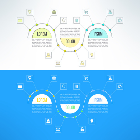 timelines: Vector infographic template suitable for business presentations, timelines and reports. Three steps process.