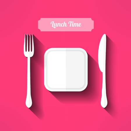 moder: Vector plate, fork and knife made in moder flat design with long shadow. Lunch time concept.