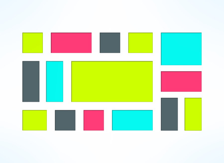 sunken: Vector colorful embedded frames set. Sunken rectangles collection suitable for web design or presentations. Geometric background. Illustration