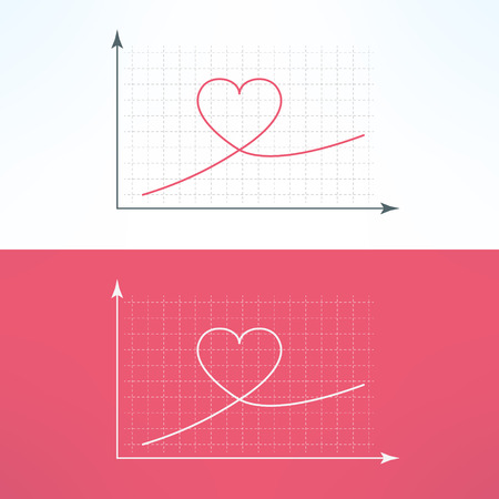 liking: Vector graphic chart with heart icon. Loving and liking raise diagram graph.