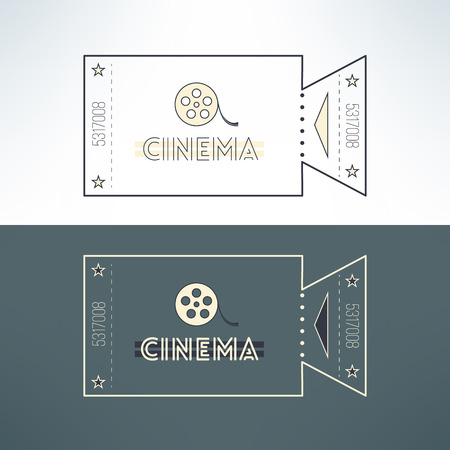 admit one: Vector entry cinema ticket in modern flat design with film. Admit one event pass for online tickets booking.