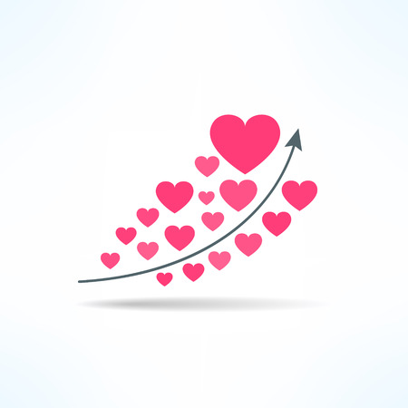 liking: Vector love graph with hearts. Liking raise concept. Fame chart.