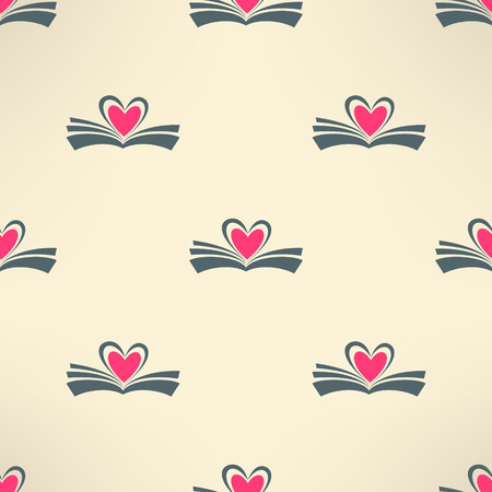 Vector book with heart made of pages seamless pattern. Love reading concept background.