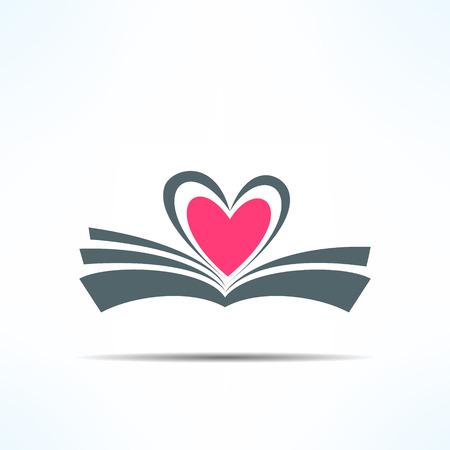 Vector icono de un libro con el corazón hecho de páginas. Concepto del amor de la lectura. Vectores