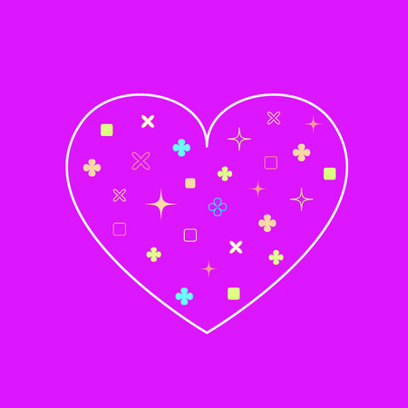 geometrical shapes: Vector heart background in modern flat design with cute geometrical shapes inside. Illustration