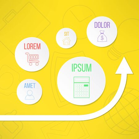 timelines: Vector infographic template with circles suitable for business presentations, timelines and reports. With vector graph showing growth and profit. Illustration