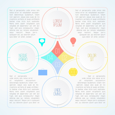 timelines: Vector infographic template with circles suitable for business presentations, timelines and reports. Four steps process. Illustration