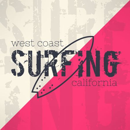 Vector surf typography in grunge design with letters background. T-shirt surfboard vintage graphic design. Inspirational sports background.