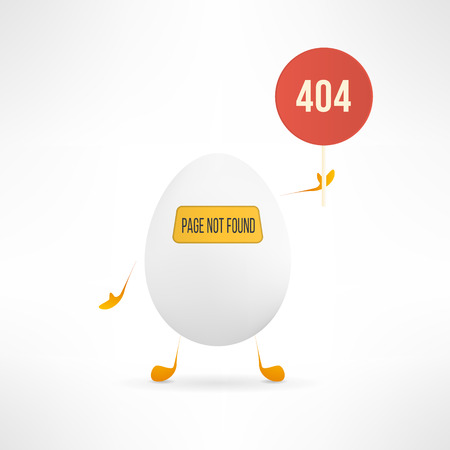 page not found: Vector 404 web page not found error with cute and funny egg creature holding the red sign. Illustration