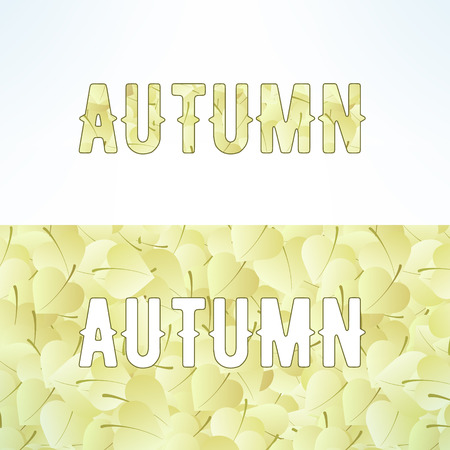 chineese: Vector autumn lettering background with light brown leaves. Letters are not cut and easy to remove. Illustration
