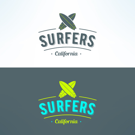 surfing: Vector surfing logo with surfboards. Surfing shop emblem. T-shirt print. Surf trip badge or banner.