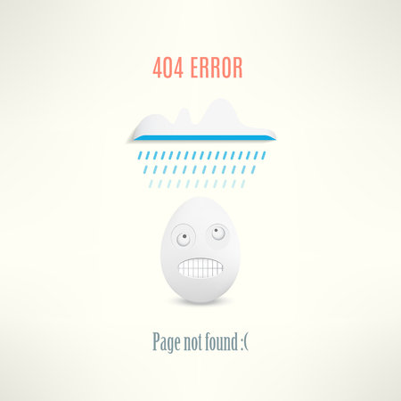 raining: Vector 404 web page not found error with funny angry egg creature and a raining cloud.