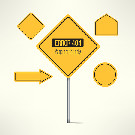 page not found: Vector 404 web page not found error made with road sign design.