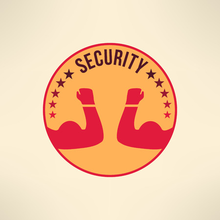 defence: Vector symbol of guarding, protection, escort and defence. Security logo. T-shirt print design.