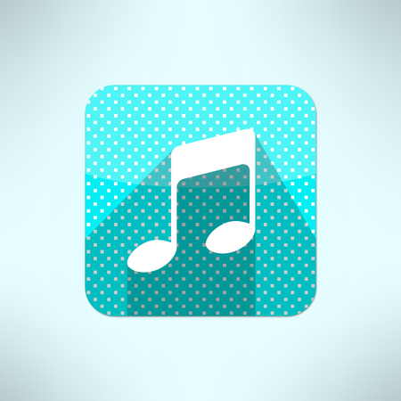 radio station: Vector music note icon in modern flat design on a halftone background. Radio station symbol.