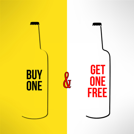 buy one: Vector beer bottle promotional design buy one get one free. Bar poster, banner and flyer promo background.