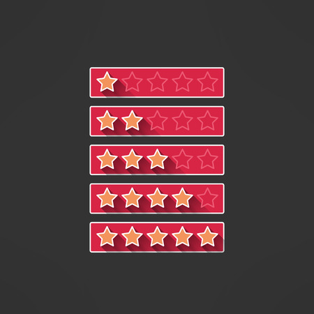 five stars: Vector five stars rating design elements in modern flat design. Rank bars with long shadows.