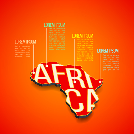 africa continent: Vector africa infographics design. Africa map in perspective.
