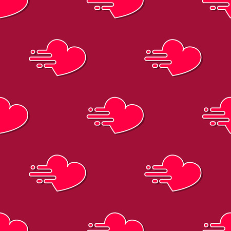 speed dating: Vector mooving hearts seamless pattern in modern flat design. Fast life background concept. Tshirt design.