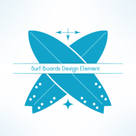 surf shop: Vector crossed surfing boards with text line. T-shirt print. Surfboards emblem.