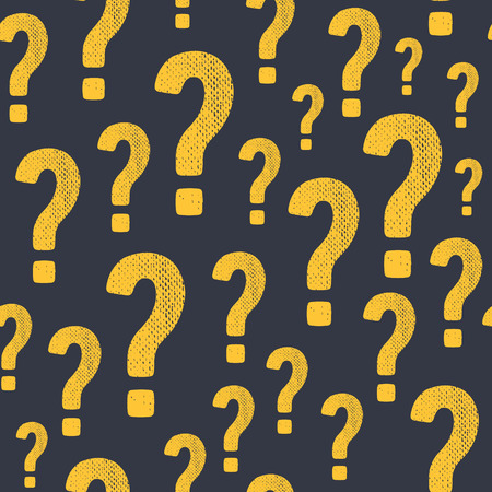 questionail: Vector grunge question mark seamless pattern. Query background. Question and answer concept. Illustration