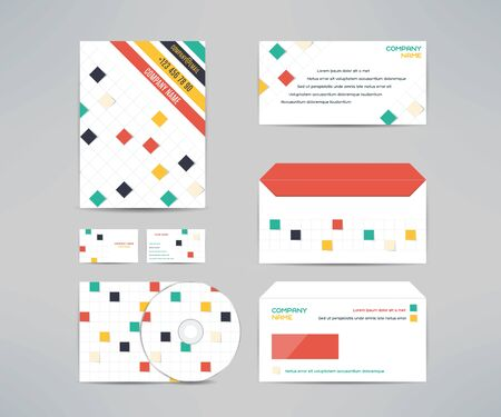 letter head: Vector corporate identity business kit with cd dvd cover, business card, envelope and letter head designs. Illustration