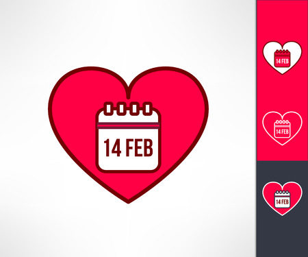 romance: Set of vector valentines hearts with calendar reminder symbol inside. Love and romance design element.